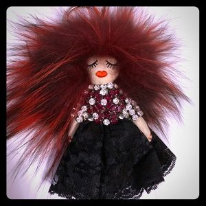 Accessories - Tch tchi doll fox  fur and crystal rhinestones.